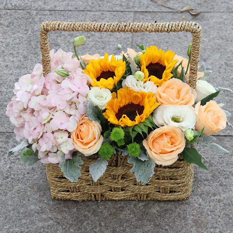 粉繡球向日葵香檳玫瑰混搭花束