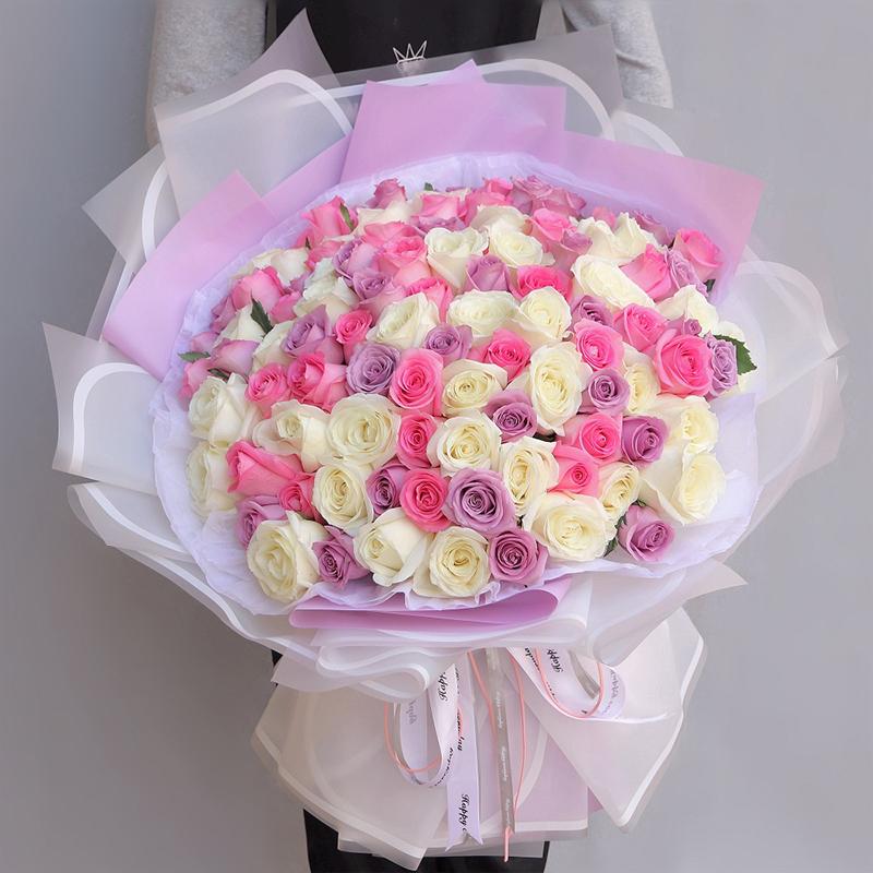 【需提前一天预定】99枝白玫瑰粉玫瑰紫玫瑰混搭韩式花束