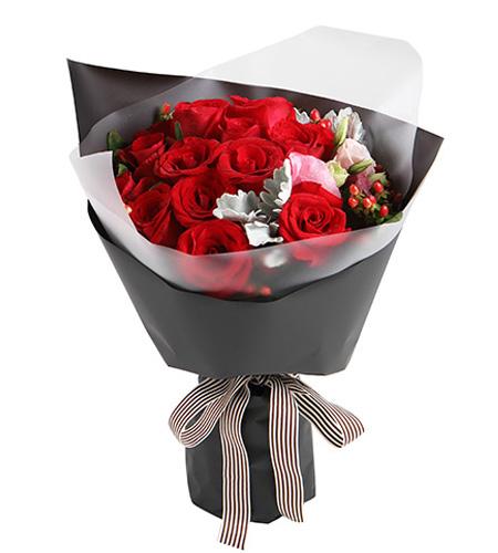 16枝紅玫瑰精品花束