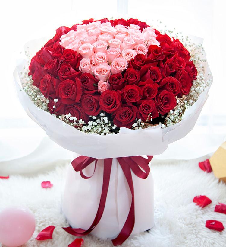 99朵紅玫瑰粉玫瑰混搭花束