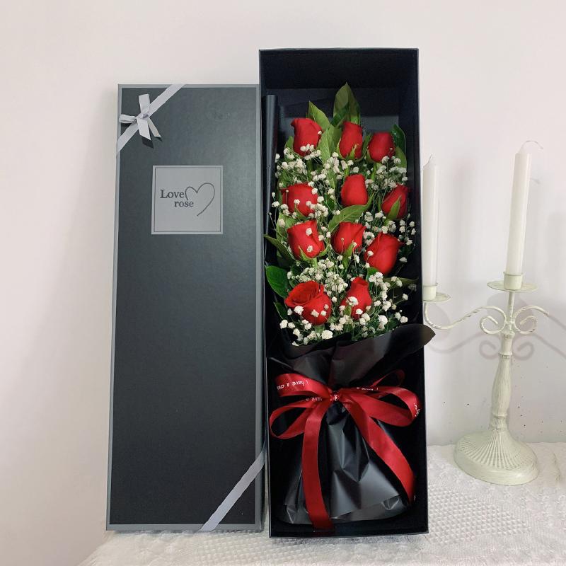 11枝红玫瑰搭配满天星精美礼盒