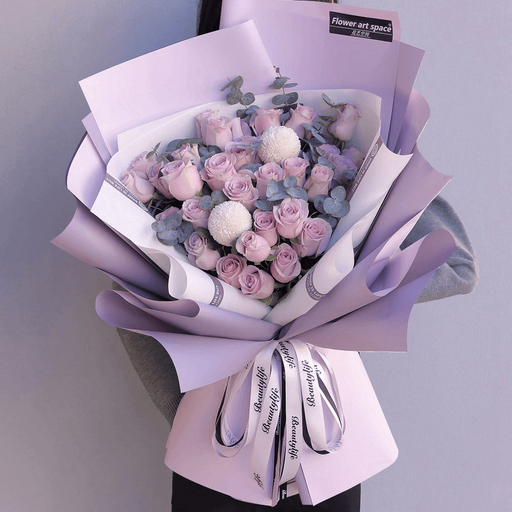 33枝紫玫瑰韓式花束