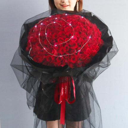 99朵紅玫瑰網紗小夜燈款