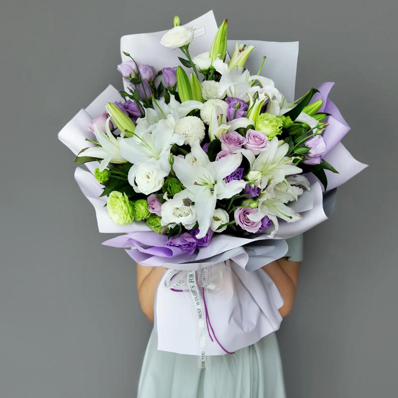 百合+紫玫瑰+洋桔梗韩式混搭花束