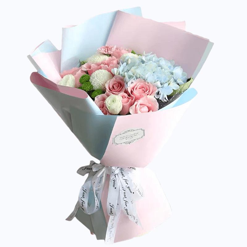 蓝色绣球+11枝粉玫瑰混合韩式花束