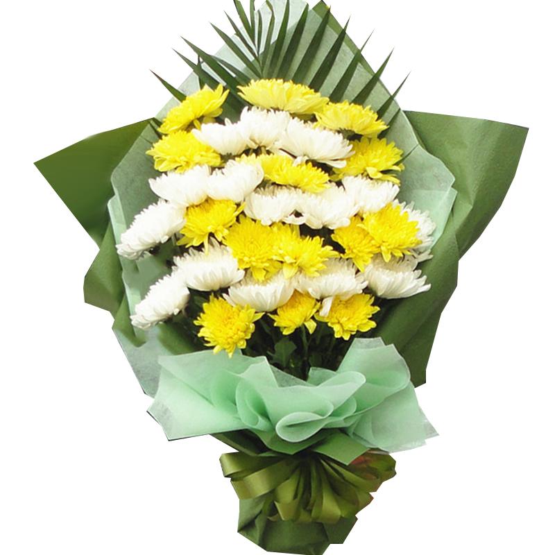 29枝黃白菊間插混搭花束