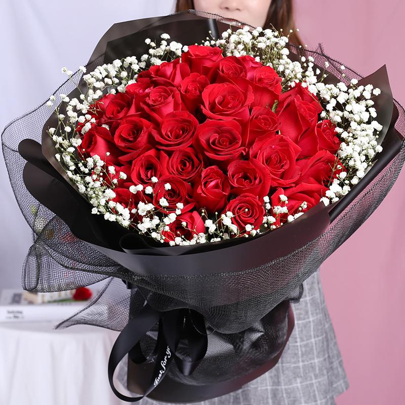 33朵紅玫瑰精美花束